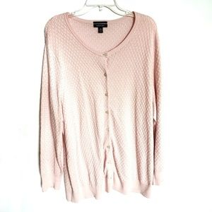 Lands End Pink Cardigan Button Down Sweater 2X